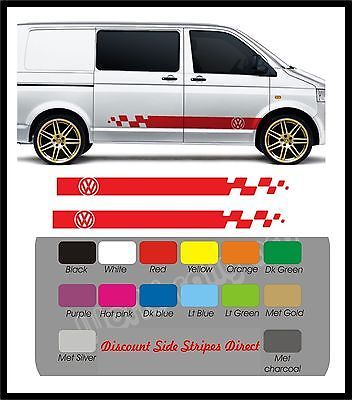VW Volkswagen Transporter T4 T5 Campervan racing stripes & cheqs Kit ANY COLOUR