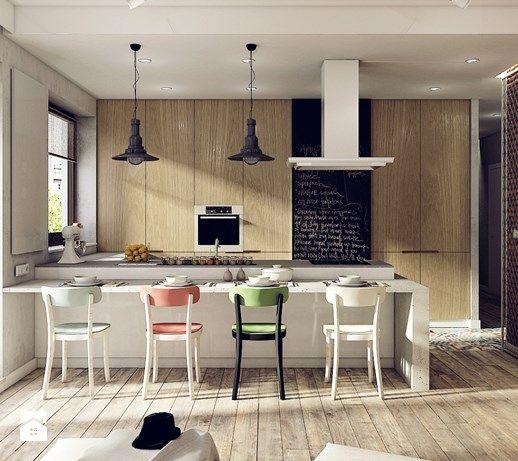 GOCŁAWSKA - Duża otwarta kuchnia w kształcie litery u w aneksie, styl industrialny - zdjęcie od KAEEL.GROUP | ARCHITEKCI
