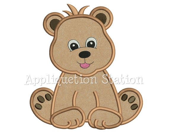Zoo Baby Bear Cub Applique Machine Embroidery Design Boy Cute animal INSTANT DOWNLOAD
