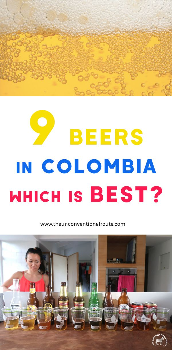 Looking for a fun activity to do while in Colombia? We tasted 9 different beers in a blind taste test to find out which one was the best. Read more at theunconventionalroute.com #beertastetest #colombianbeer #tastetest #colombianparty #aguila #clubcolombia #pruebadecerveza #colombia #medellin