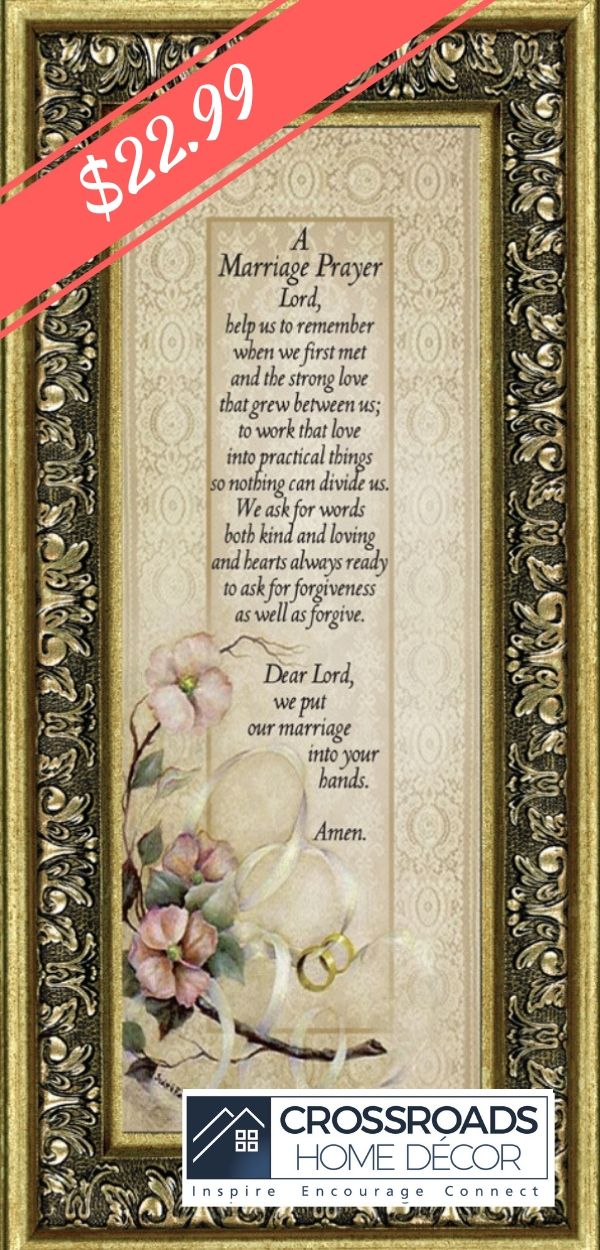 Framed Marriage Prayer with Scripture, Christian Wedding