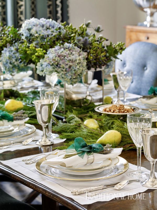 Fresh greens dress up a classically set table for a holiday dinner. - Photo: Emily Jenkins Followill
