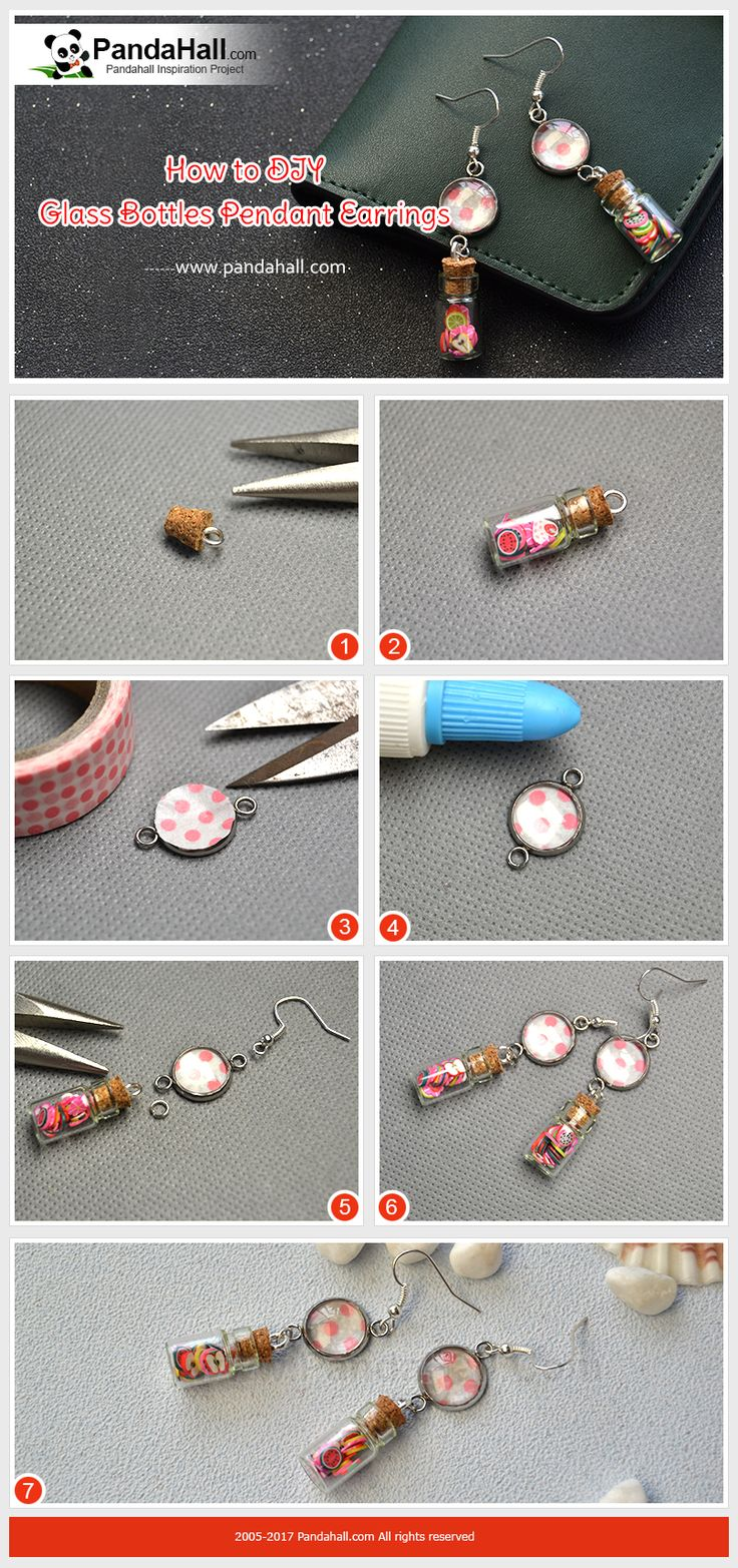 How to Make Glass Bottles Pendant Earrings The main materials of the earrings are clay cabochons, glass bottles, glass cabochons, connector link settings and adhesive tapes. And you just need 4 steps to finish the earrings! Just have a try!