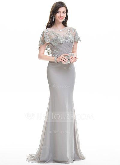 [US$ 94.49] Sheath/Column Sweetheart Sweep Train Chiffon Evening Dress With Ruffle Beading (017105910)