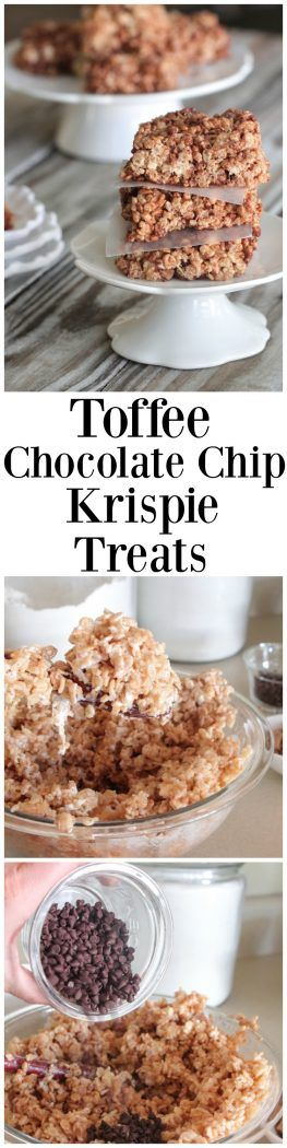 Toffee Chocolate Chip Krispie Treats - Picky Palate