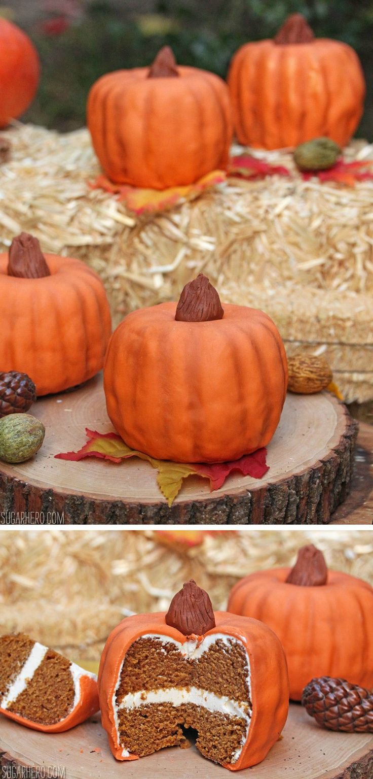 Pumpkin Bundt Cakes - brown butter pumpkin cakes decorated to look just like mini pumpkins! | From SugarHero.com