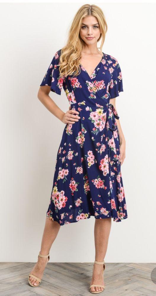 75ad2f2227 Stitch Fix Gilli Maxi Dress Faux Wrap Floral Navy Midi Print L Large  Gilli   Maxi  Casual