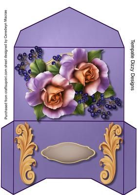Lovely Gift Wallet Lilac Roses and Berrys  on Craftsuprint designed by Ceredwyn Macrae - A lovely Gift Wallet to make and give to anyone quick and easy to make but very effective when made up,  - Now available for download!