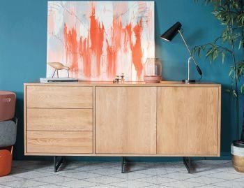 Odense Black Steel Leg Solid European Oak 165cm Sideboard Buffet By Bent Design Image
