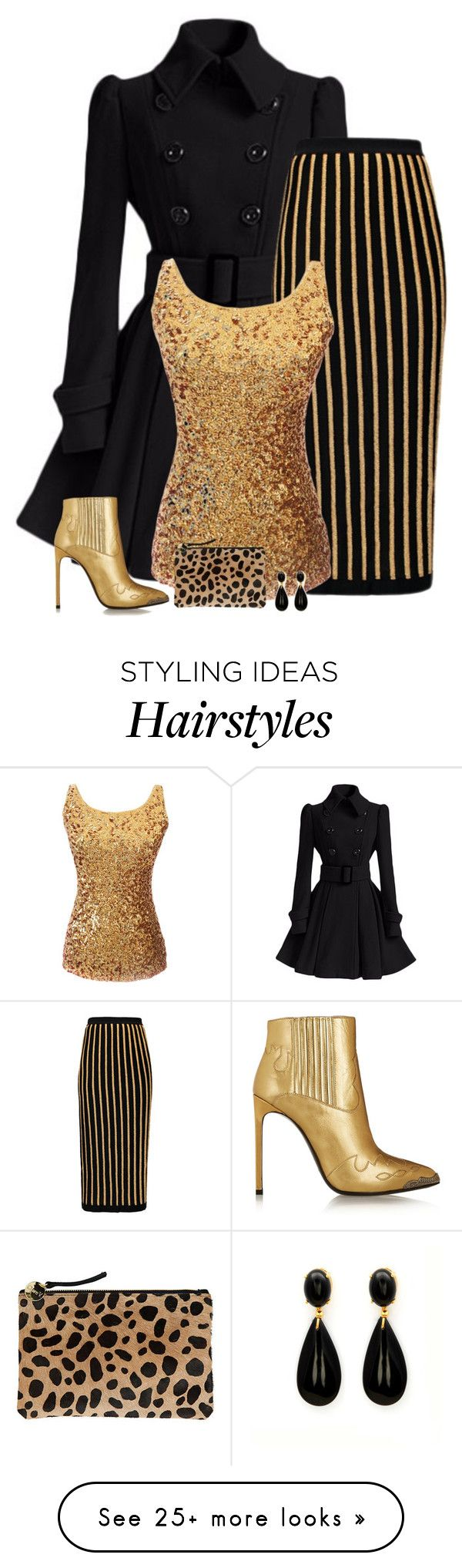 """""""black & gold"""" by divacrafts on Polyvore featuring Balmain, Yves Saint Laurent, Clare V. and Original"""