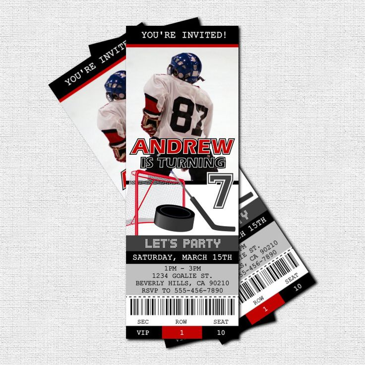 HOCKEY TICKET INVITATIONS Birthday Party (print your own) Personalized Printable. $9.00, via Etsy.