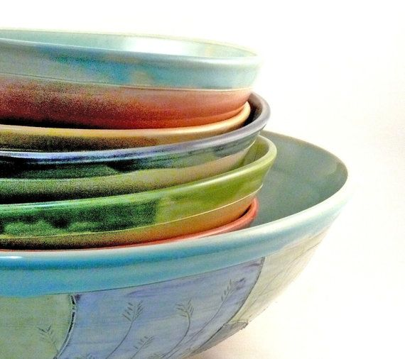 Handmade Pasta Bowl Set with six pasta dishes and one serving bowl - perfect wedding couples gift - new home - fiestaware colors