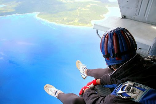 Stock Photo : Skydiving Point of View