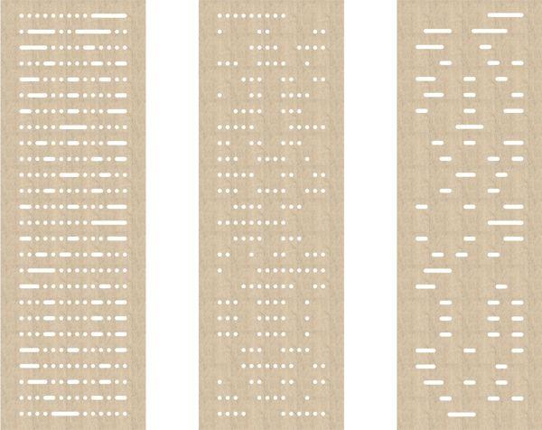 akoestisch paneelgordijn van vilt - akoestiek - cut out - model  bits & bytes