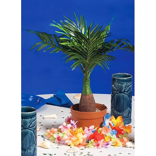 Mini Palm Tree Centerpiece - Tiki party decoration?!