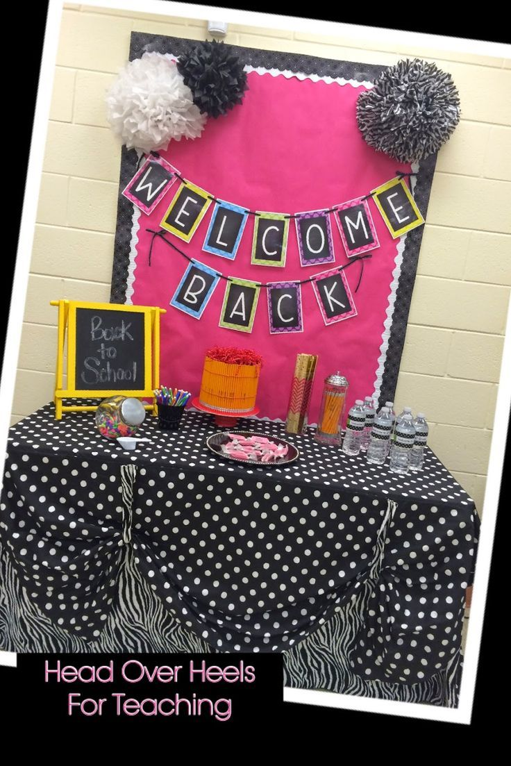 Back to School bulletin board and welcome back display using school supplies.
