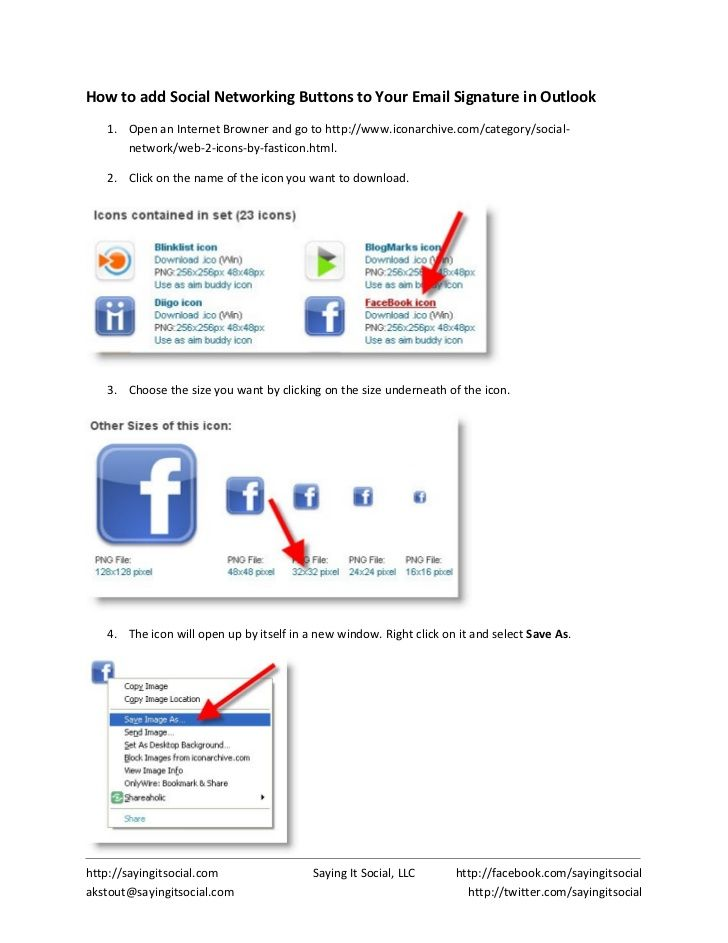 How To Add Social Networking Buttons To Your Outlook Email Signature by AK Stout via slideshare