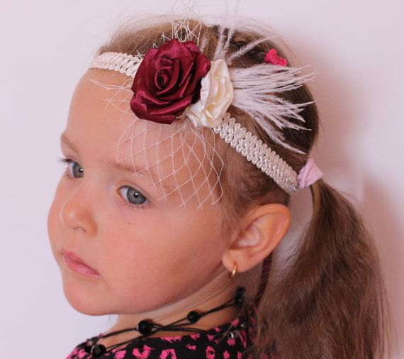IvoryMaroon Flower Headband-baby girl Wedding by ArtFlowerSilk