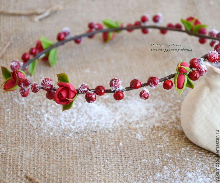 """Купить Венок с рябиной """"Первый снег"""" - ярко-красный, венок на голову, венок с цветами"""