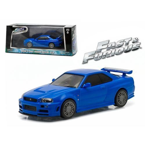 "Brian's 2002 Nissan Skyline GT-R Blue ""Fast and Furious"" Movie (2009) 1/43 Diecast Model Car by Greenlight"
