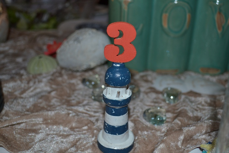 Table numbers on a wooden light house