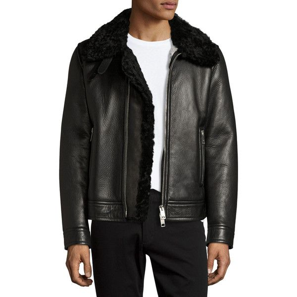 Burberry Lambskin & Shearling Aviator Jacket ($4,795) ❤ liked on Polyvore featuring men's fashion, men's clothing, men's outerwear, men's jackets, black, men's apparel coats, mens sherpa lined jacket, mens shearling jacket, mens lamb leather jacket and mens shearling aviator jacket