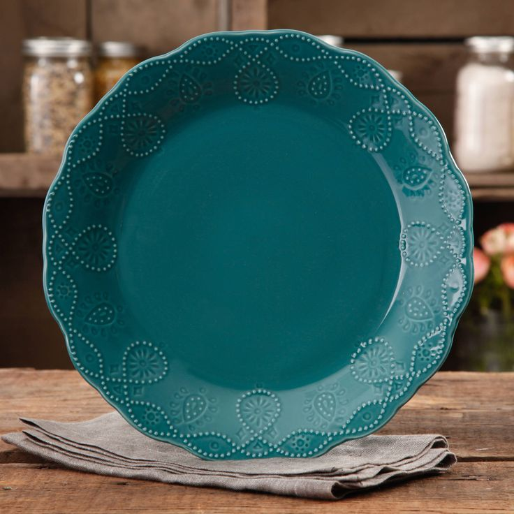 Buy The Pioneer Woman Cowgirl Lace Teal Dinner Plate at Walmart.com