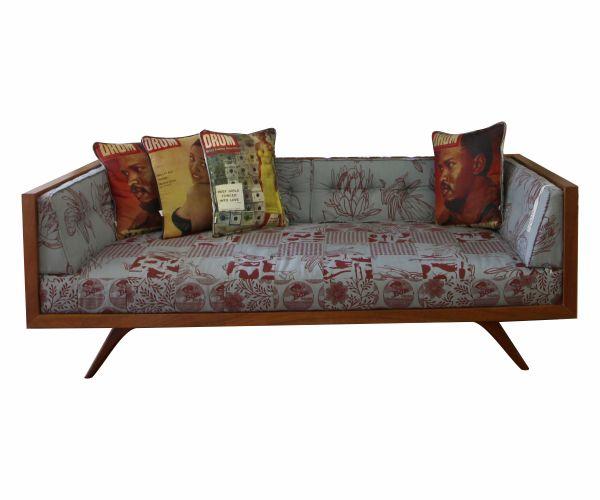 DT Retro Couch in Natural Mahogany with Design Team 'laslappie' fabrics. #retro #couch #designteam #patchwork #furniture