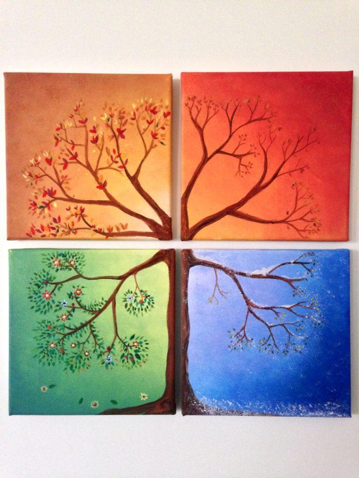 Four season tree canvas painting