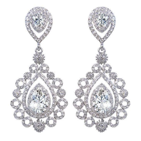 Elegant Art Deco Flower Drop Gauges Plugs Dangle Zircon Crystal by stephystrick9designs. Explore more products on http://stephystrick9designs.etsy.com