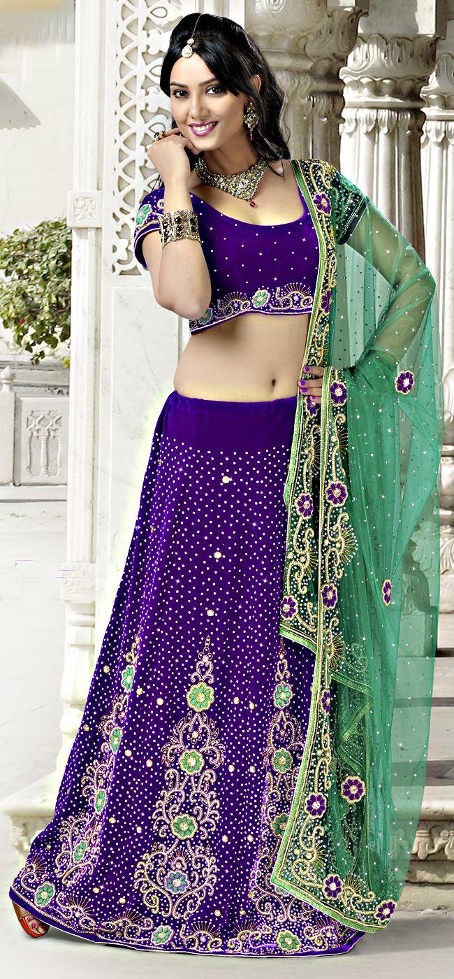 Glamorous Velet Fabric Purple Color Lehengha Choli !!  Item Code: LHKM1120 !! PRICE:- 11725 /- INR !!  work: Embroidered, Resham Style: Lehenga Style Saree occasion: Wedding, Bridal, Reception fabric: Velvet color: Purple Catalog No.: 1162  SHOP THIS SAREE FROM HERE http://www.vivaahsurat.com/lehenga-choli/glamorous-velet-fabric-purple-color-lehengha-choli-lhkm1120