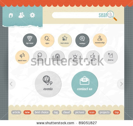 stock vector : web interface paper template with simple modern icons