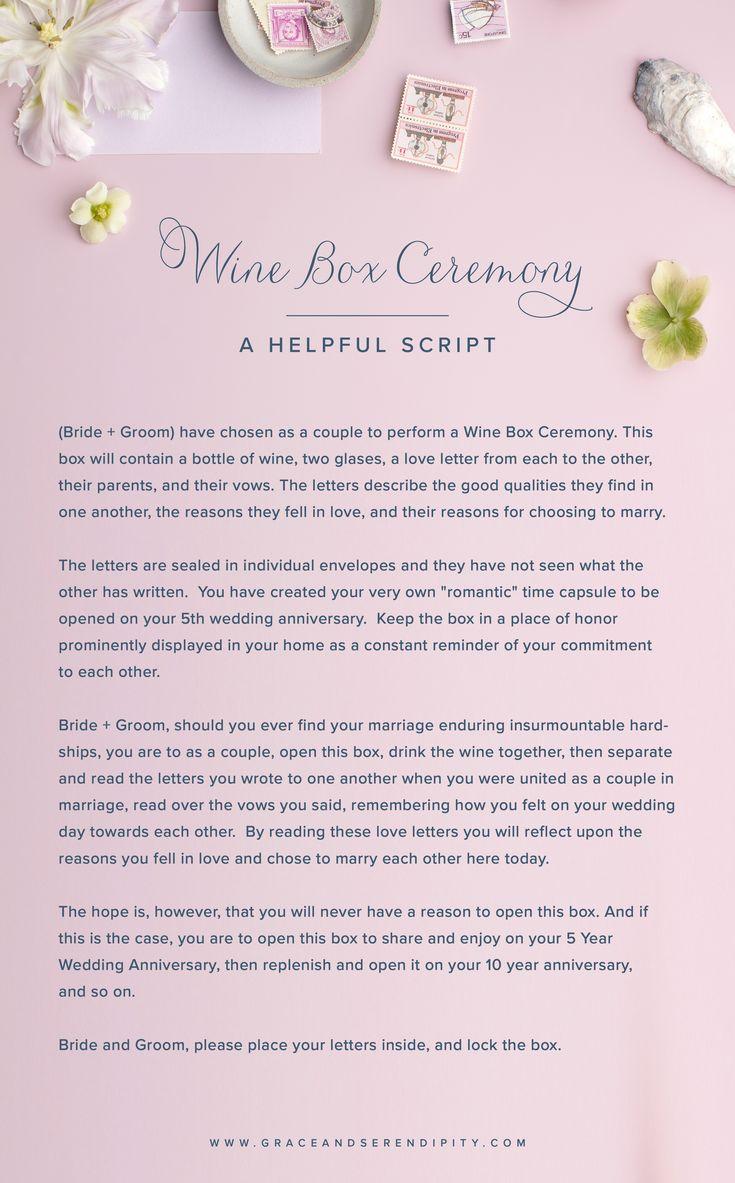 Unique Ceremony Ideas Wine Box Ceremony Script In 2019