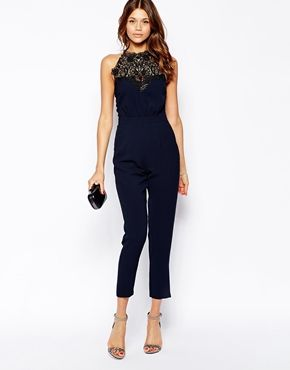 Michelle Keegan Loves Lipsy Jumpsuit With Victoriana Lace Neck
