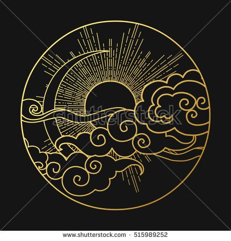 Sun and moon in the cloudy sky. Decorative graphic…