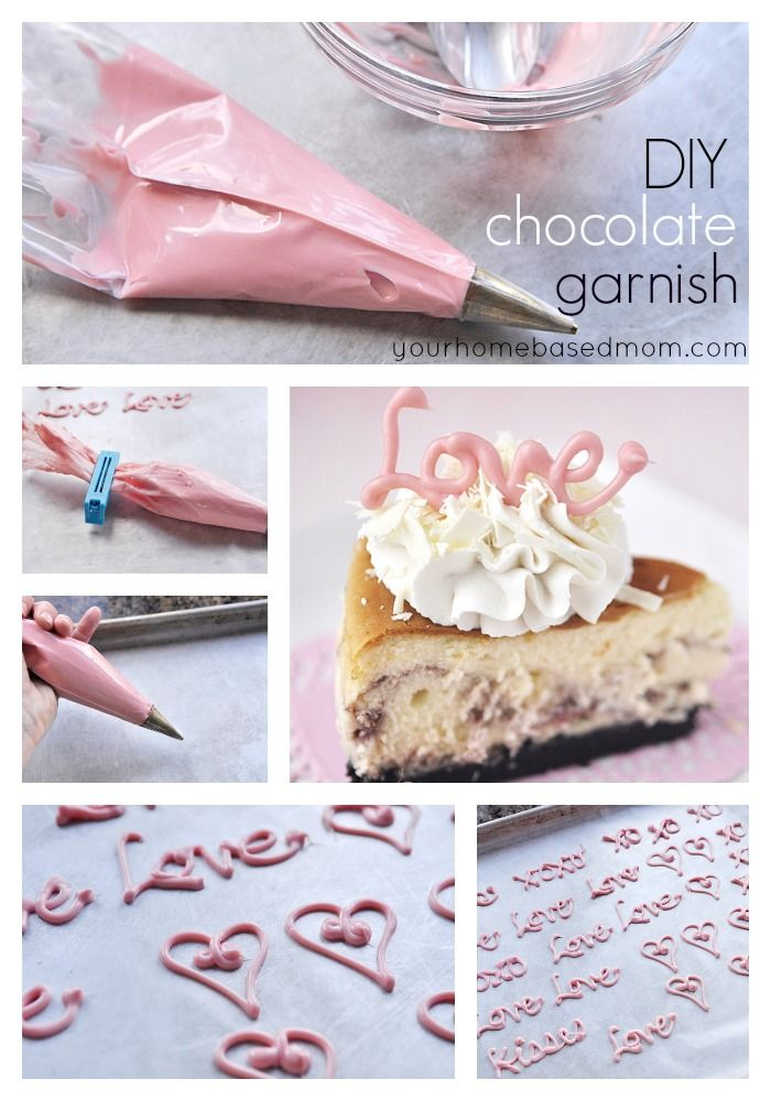 DIY Chocolate Garnish...so cute and easy to do - tops cakes, cupcakes or any dessert! - plus you can write or draw any design you wish and pipe over the top (on the reverse side)...x