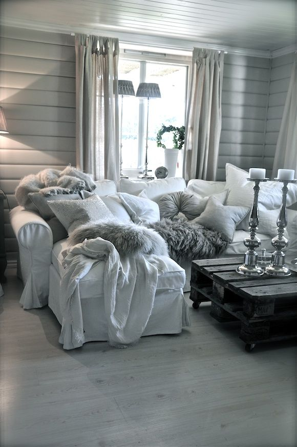 Living Room....PERFECTO....love the floors....the greys....the comfy pillows and throws and the linen curtains...
