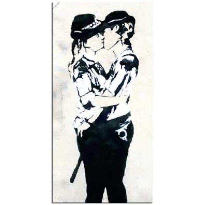 The Banksy Shop - Banksy Canvas Print - Kissing Coppers Women, £34.95 (http://www.thebanksyshop.co.uk/banksy-canvas-print-kissing-coppers-women/)