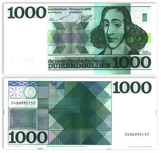 1000 gulden - Spinoza - ontwerper Ootje Oxenaar