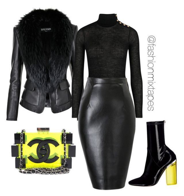 Untitled #47 by fashionmixtapes on Polyvore featuring polyvore fashion style Balmain Chanel clothing
