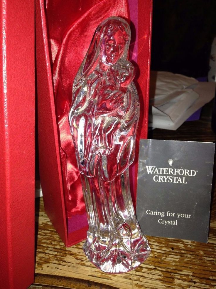 WATERFORD IRELAND MADONNA MEANING MY LADY MARY AND JESUS MINT WITH TAGS IN BOX  #WATERFORD
