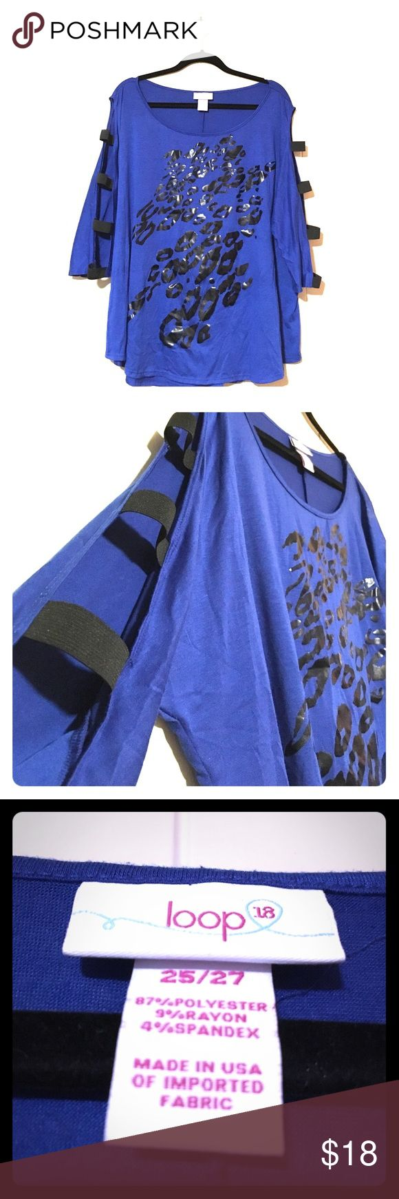 Royal Blue Blouse with Cut Out Sleeves Fun and flirty royal blue top with cheetah print details on the front and elastic arm bands down the sleeve. Fashion Bug Tops Blouses