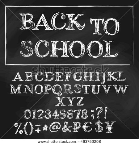 Chalk cyrillic vector alphabet. English title is Back to School. White capital letters, numbers, special symbols and money signs. Textured blackboard on background.