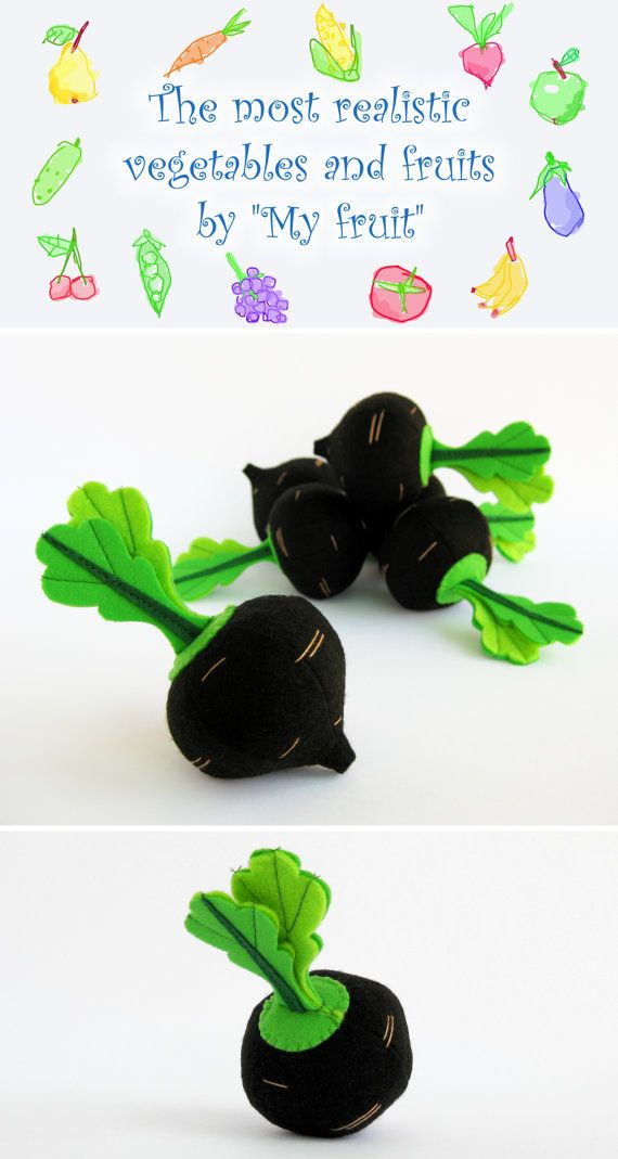 Felt play food Radish Spanish Black Winter (1 pc) Realistic Toy Pretend Play Food for Kids Black Radish Kitchen Play Food Fabric Vegetables