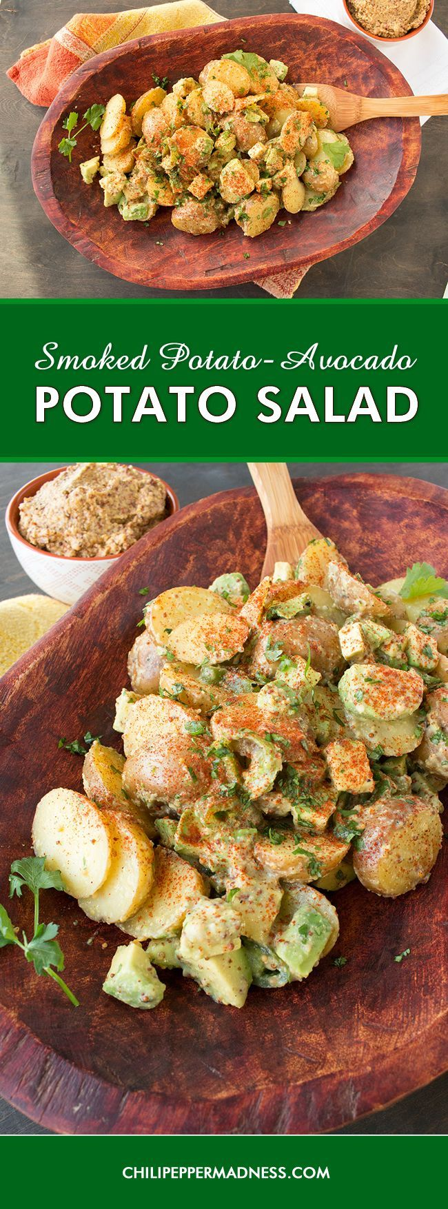 Smoked Potato-Avocado Potato Salad Recipe - A summertime potato salad recipe made with lightly smoked potatoes, ripe avocados and roasted jalapeno peppers. It is creamy and tangy and sure to be a hit at your next party.