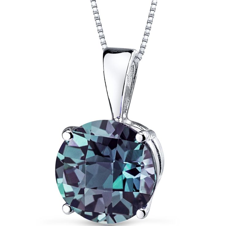 14k White Gold Round Alexandrite Solitaire Pendant Necklace