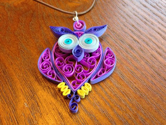 Quilled Paper Owl Necklace by PaperCurlSwirls on Etsy