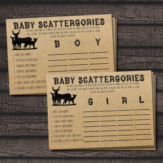 Baby Scattergories Baby Shower Game Woodland Animal Theme