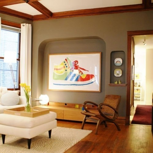 Accent Wall Solid Color Grey Living Room Wood Trim: 30 Best Wood Trim And White Walls Images On Pinterest