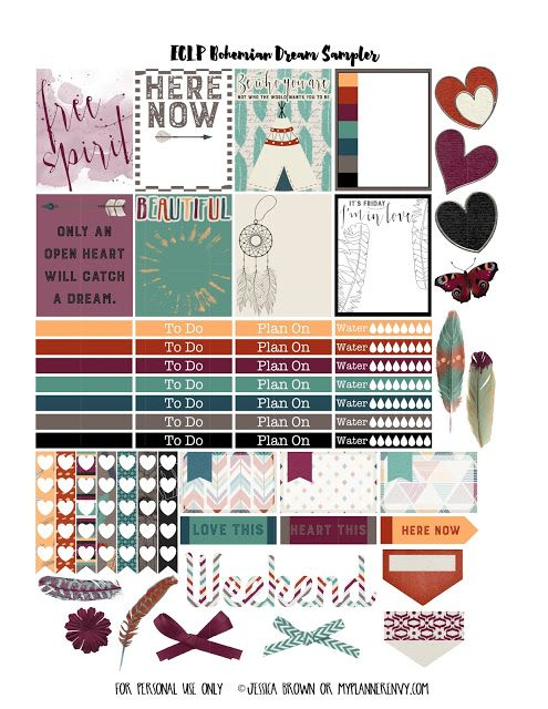 FREE Printable Bohemian Dreams Sampler for The Happy Planner and the Erin Condren Life Planner on myplannerenvy.com